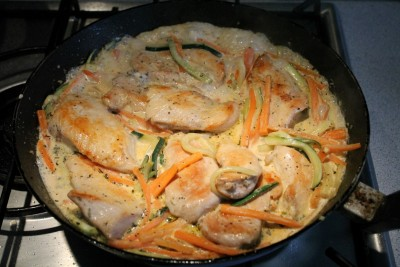 cukkinis csirkemell sárgarépával készítése