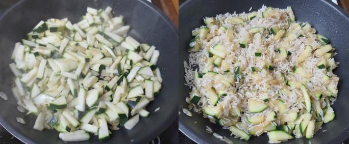 cukkinis rizs készítése
